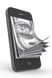 Pengar i mobil telefon stock illustrationer