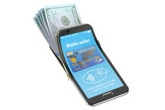 Pengar i mobiltelefonen, NFC-begrepp framförande 3d Royaltyfri Fotografi