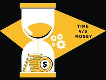 Pengar med sandexponeringsglas royaltyfri illustrationer