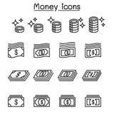 Pengar mynt, kassa, valuta, sedelsymbolsuppsättning i den tunna linjen st stock illustrationer