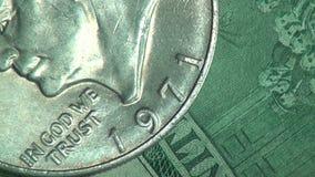 Pengar mynt, räkningar, valuta, Amerikas förenta stater stock video