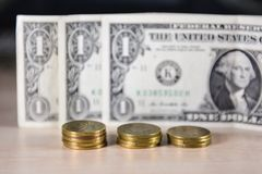 Pengar mynt, utbyte arkivbild