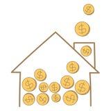 Pengar myntar att falla på hus inramar Arkivfoto