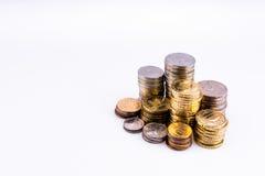 pengar Några stor och liten rouleau av myntar Arkivbild