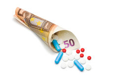Pengar och apotek Royaltyfri Fotografi