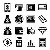 Pengar- och banksymbolsuppsättning Arkivbild