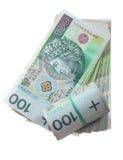 Pengar och besparingar. Bunt av zlotysedlar för polermedel 100's Royaltyfri Fotografi
