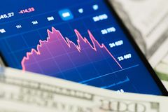 Pengar och graf på telefonen - bild arkivbilder