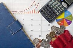 Pengar och grafer Arkivfoto