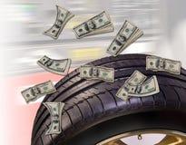 Pengar och gummihjul Royaltyfria Bilder