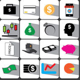 Pengar och illustration eps10 för finanssymbolsuppsättning Arkivfoto