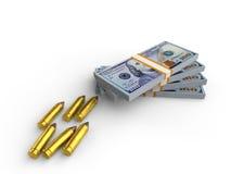 Pengar och kulor Fotografering för Bildbyråer