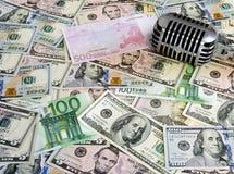 Pengar och musikbegrepp arkivfoto