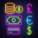 Pengar och packa ihop samlingen f?r neontecken stock illustrationer