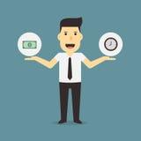 Pengar och tid för affärsman hållande Fotografering för Bildbyråer