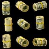 Pengar på en svart bakgrund Arkivbilder