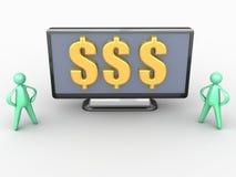 Pengar på en widescreen TV Royaltyfri Bild