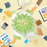 Pengar på folkmassan för grupp för folk för skrivbordhandaffär stock illustrationer