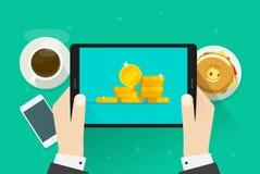 Pengar på minnestavlavektorillustration, plan tecknad filmkassa eller guld- mynt på skärmen, idé av stor finansiell vinst som är  stock illustrationer