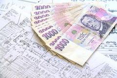 Pengar på ritningar Royaltyfria Bilder
