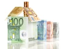 Pengar - Real Estate begrepp med sedlar arkivbild