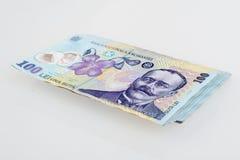 Pengar rumänska 100 Leu Stack Arkivbild