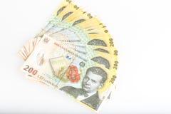 Pengar rumänska 200 Leu Stack Arkivfoto