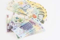 Pengar rumänska Leu Stack Royaltyfria Bilder