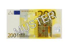 Pengar - samlar framdelen för räkningen för euro tvåhundra (för 200) med tysk bokstäver (provet) Arkivfoto