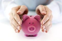 pengar skyddar ditt Fotografering för Bildbyråer