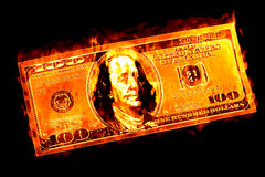 Pengar som bränner ordstäv Royaltyfri Bild