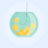 Pengar som fångar med fiskekroken, stång Royaltyfria Bilder