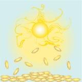 pengar som faller från himlen. Arkivfoton