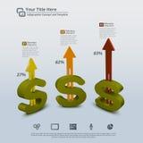 Pengar som växer abstrakt Infographic bakgrund för 3D Arkivfoto