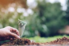 Pengar som växer på jord med grön bakgrund runt om tillväxt för begrepp för pilaffärsbusinesspeople som jätte- pekar upp royaltyfri bild