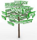 Pengar som växer på trädord på trädfilialer Arkivfoto
