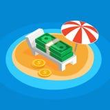 Pengar som vilar på den soliga stranden Royaltyfri Bild