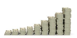 Pengar staplar grafen Arkivfoto