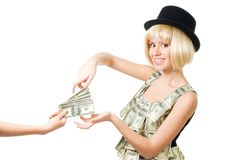 pengar tar kvinnan Arkivbild