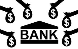 Pengar till banken Fotografering för Bildbyråer