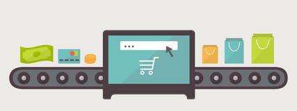Pengar till köp, internetshoppingillustration stock illustrationer