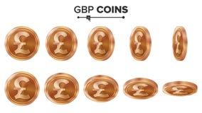 pengar Uppsättning för GBP 3D kopparmyntvektor realistisk ballonsillustration Flip Different Angles Pengar Front Side Investering Arkivbild