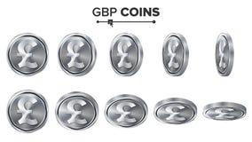 pengar Uppsättning för GBP 3D silvermyntvektor realistisk ballonsillustration Flip Different Angles Pengar Front Side Investering Fotografering för Bildbyråer