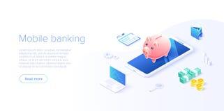 Pengar?verf?ring via mobiltelefonen i isometrisk vektordesign Digital betalning eller online-cashbackservice Mobil bankr?relsetra stock illustrationer