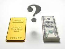 Pengar vs guld Arkivfoto