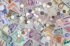 Pengarbakgrund, Closeuppengarsamling royaltyfri bild
