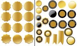 Pengarbaksidaetikett, SALE etikettuppsättning (guld) Royaltyfri Foto