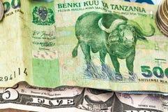 Pengarbank av Tanzania Bill Coins Royaltyfri Foto