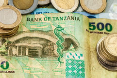Pengarbank av Tanzania Bill Coins Arkivfoto