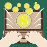 Pengarbegrepp med gör pengar vid datoren stock illustrationer